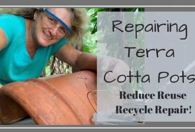repair terra cotta pot, REPAIRING YOUR TERRA COTTA POTS // REDUCE REUSE RECYCLE REPAIR // Deep Water Happy