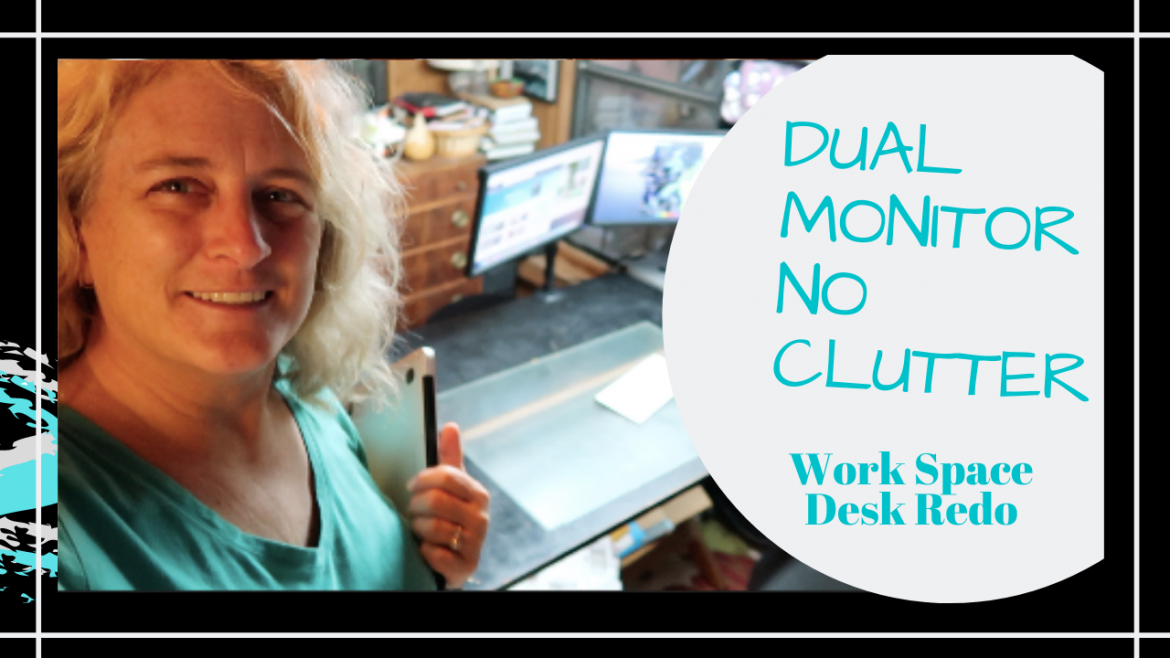 Work From Home Desk, DUAL MONITOR NO CLUTTER WORK SPACE DESK REDO // HOME WORKSPACE SETUP // Deep Water Happy