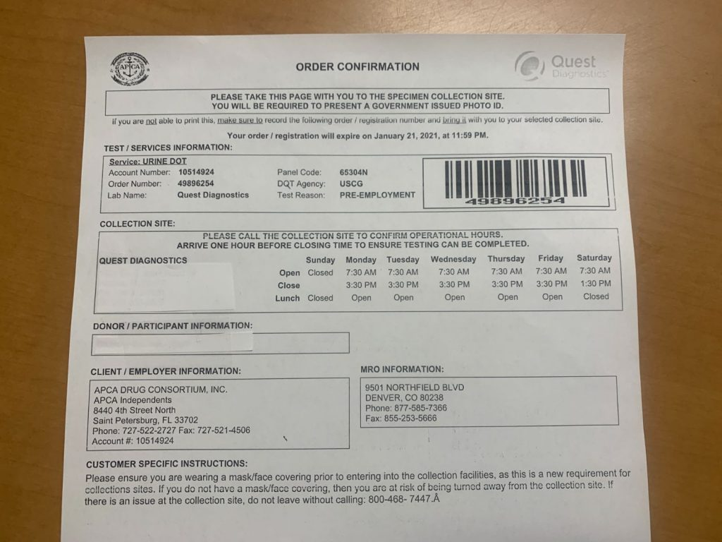captains license drug testing, DOT Random Drug and Alcohol Program Requirement for Boat Captain and Crew // CFR's // My Experiences